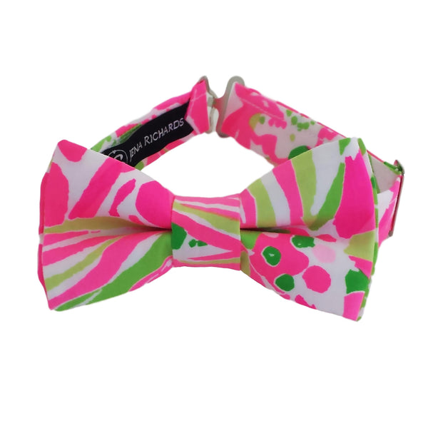 Pink and Green Tropical Print Bow Tie for Boys and Men
