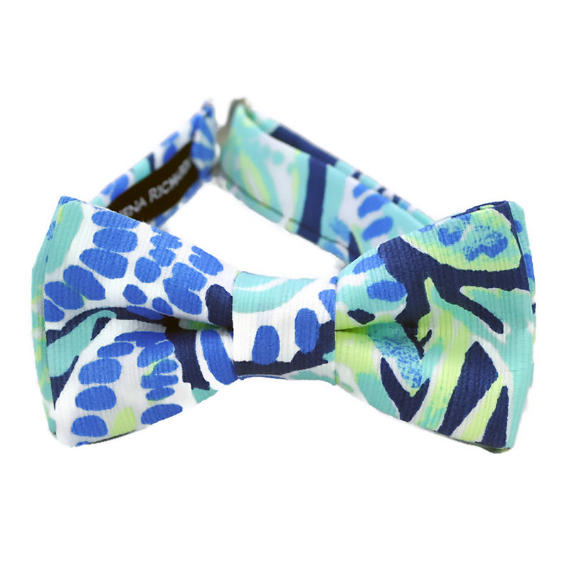 fun blue and white bow tie