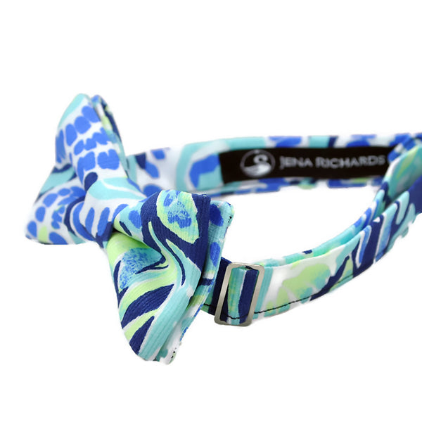fun blue and white bow tie side view