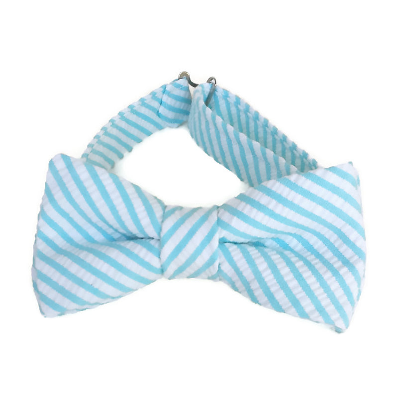 Aqua Blue Seersucker Bow Tie