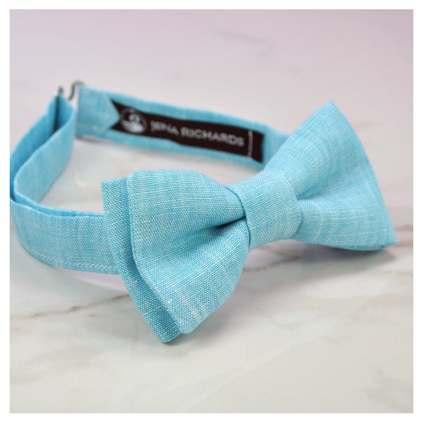 turquoise linen bow tie side view