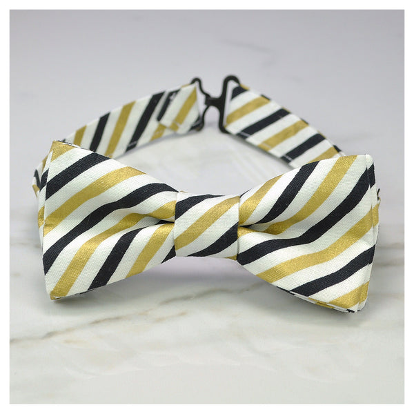 Black, gold and white striped bow tie