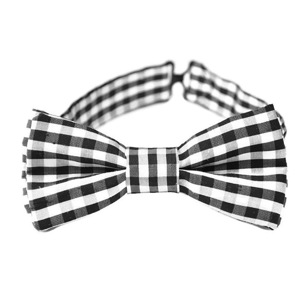 Black and white check silk bow tie for boys and men