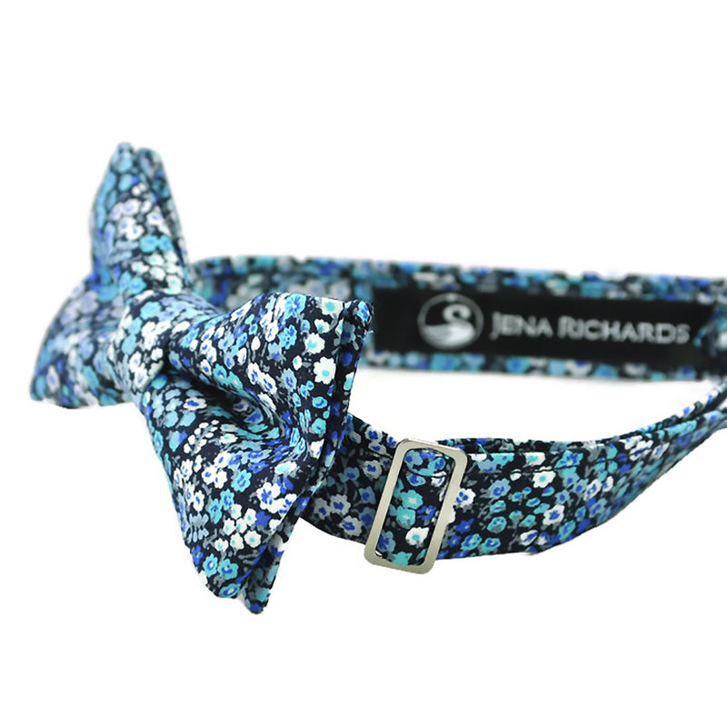 Blue floral bow tie side view