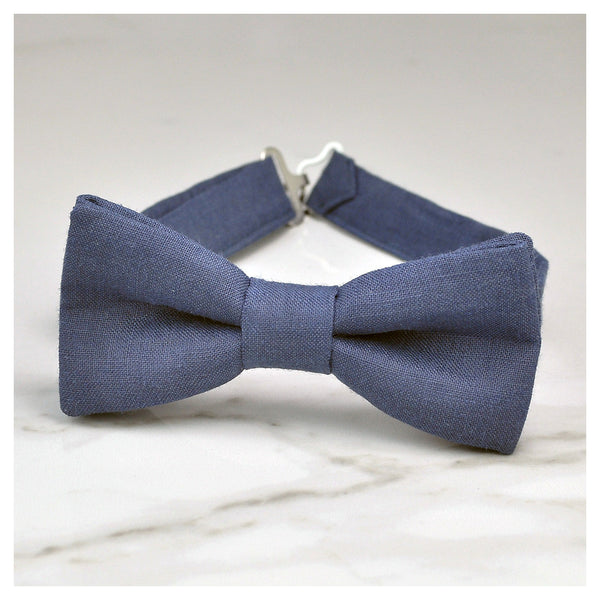 Blue gray linen bow tie