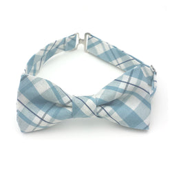 Blue plaid cotton bow tie