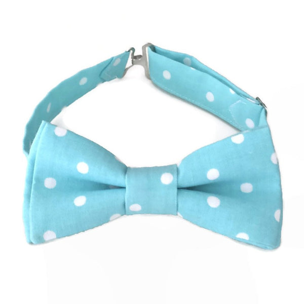 Light blue bow tie with white polka dots