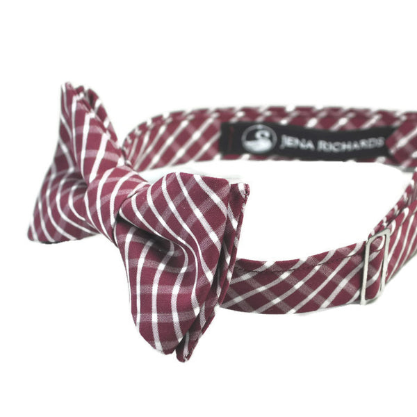 burgundy and white plaid bow tie side view