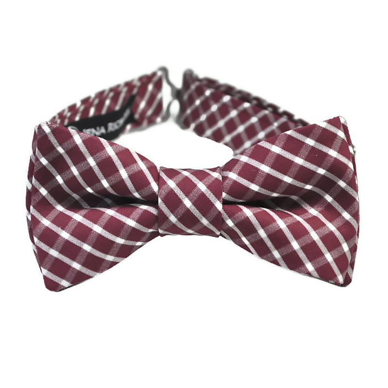 burgundy and white plaid bow tie