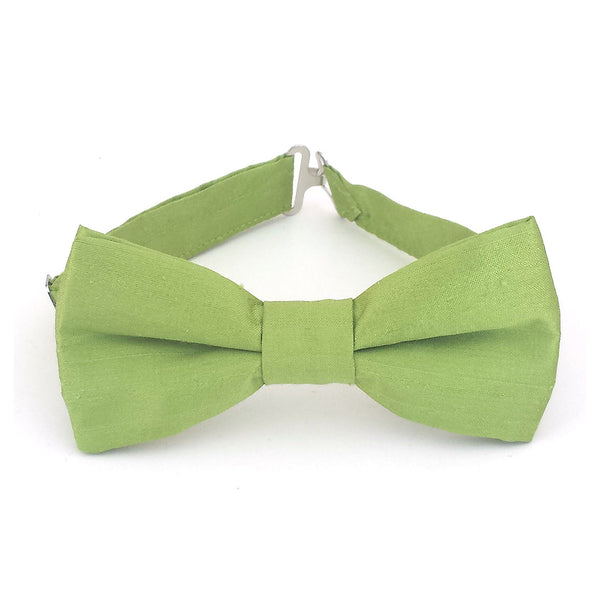 Chartreuse green silk bow tie