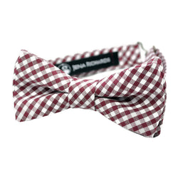 Burgundy Gingham Bow Tie for Boys, Men and Babies