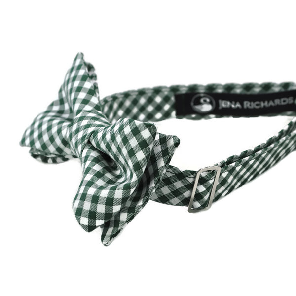 Green gingham bow tie side view