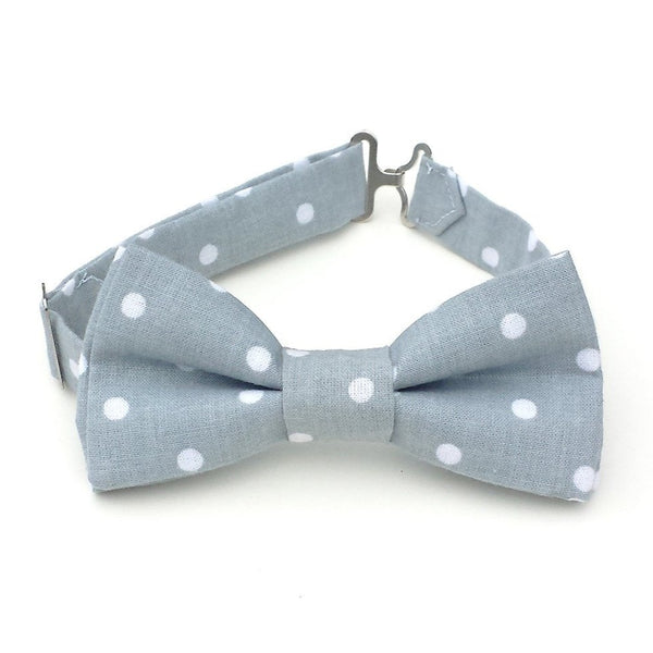 Gray polka dot bow tie