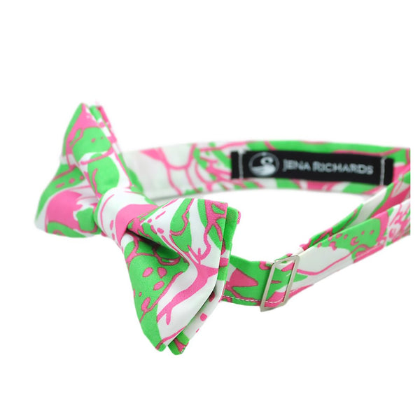 Green and Pink Print Bow Tie for Boys, Men and Baby