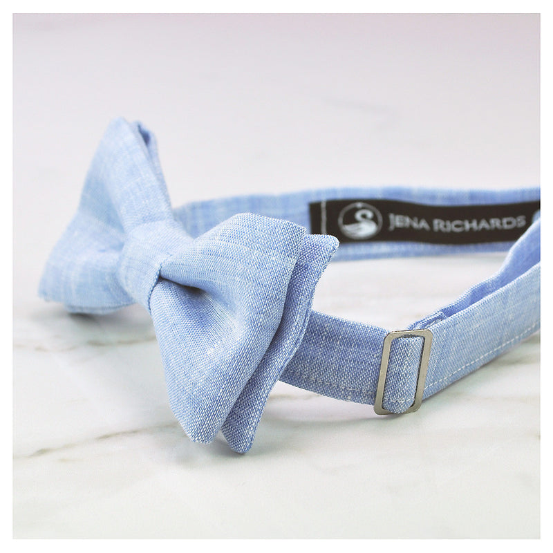 Pale blue bow tie side view