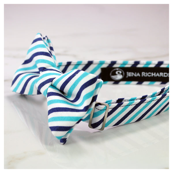 Blue and white striped bow tie side view