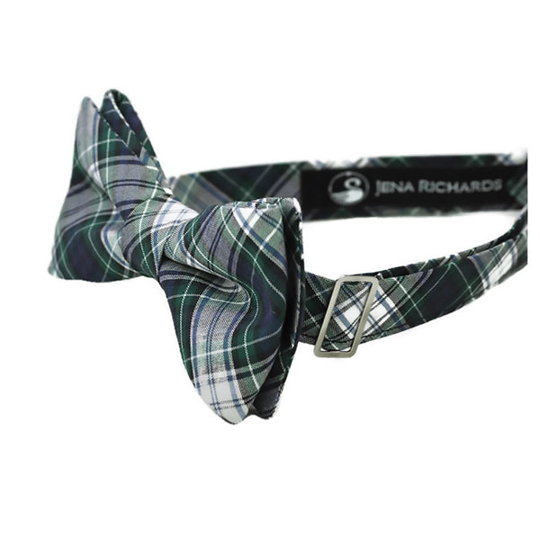 navy plaid bow tie side view