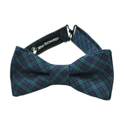 Green and navy tartan plaid bow tie
