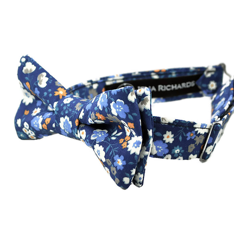 navy floral bow tie side view