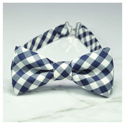 Navy blue gingham check bow tie