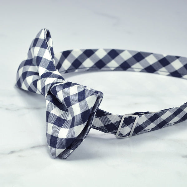Navy blue gingham bow tie side view