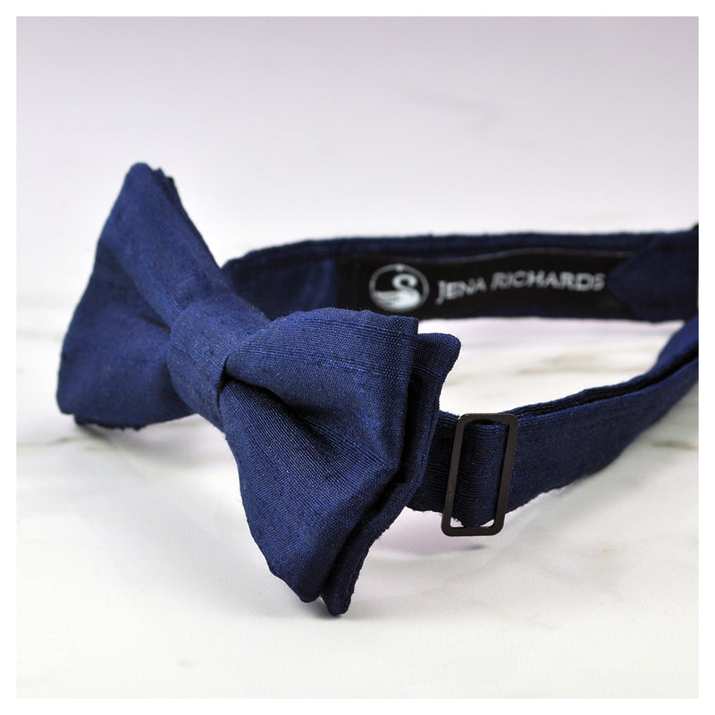 navy blue bow tie side view