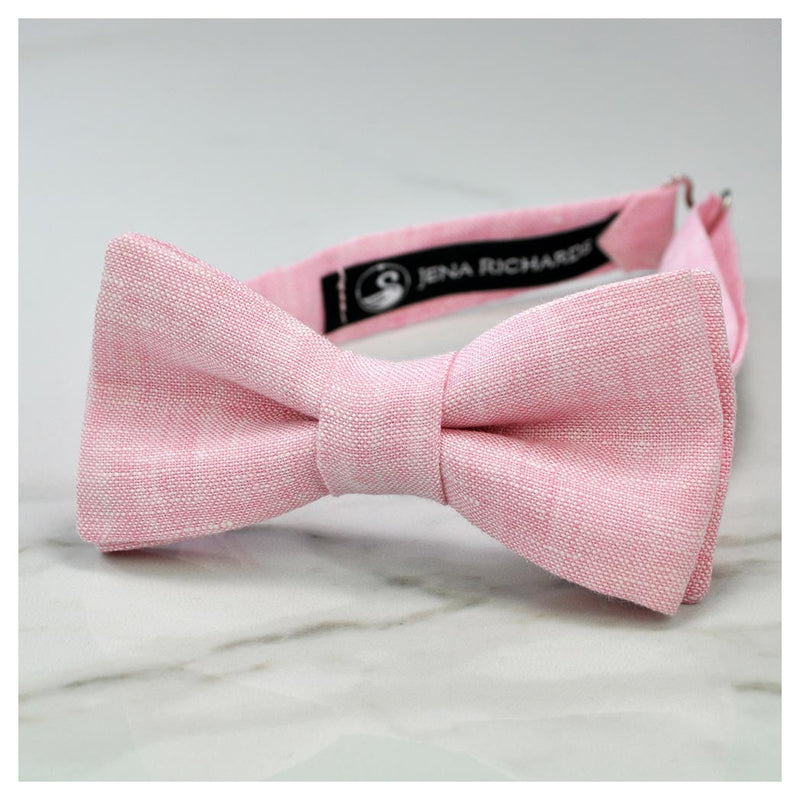 Pink linen bow tie