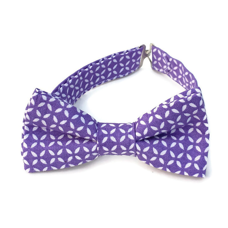Purple and white bow tie