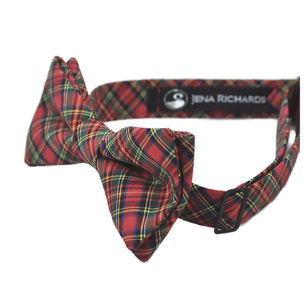 red plaid bow tie side view