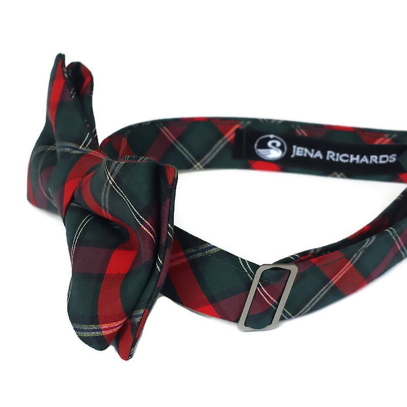 Red and Green Plaid Bow Tie for Boys and Men