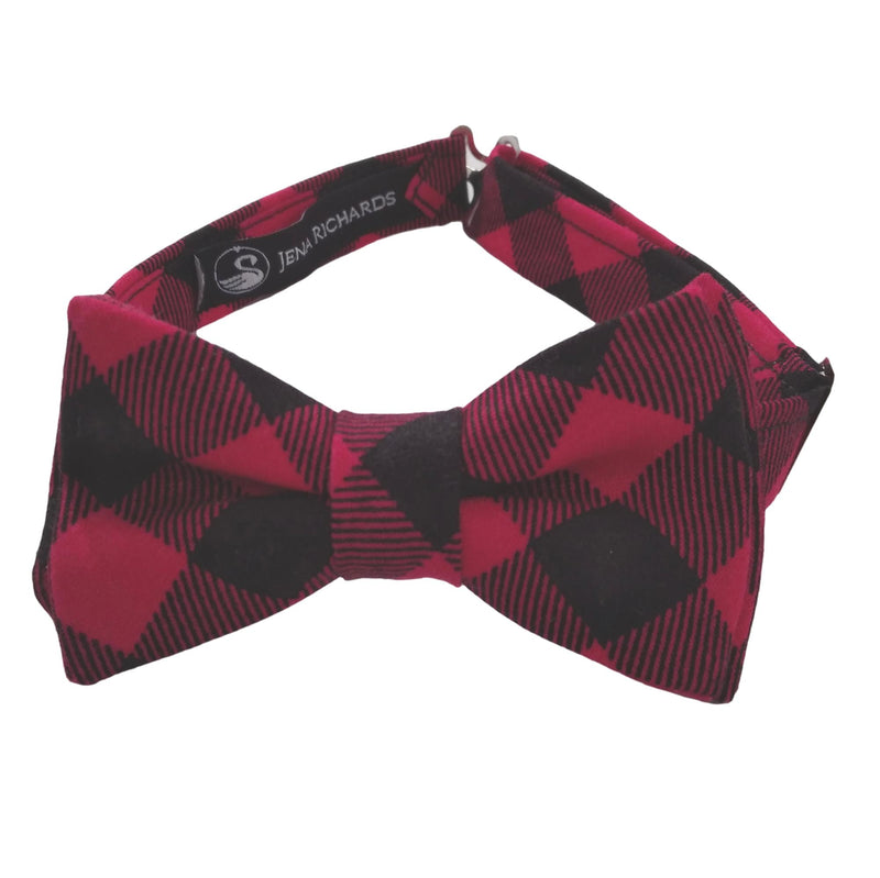 Red and Black Buffalo Plaid Bow Tie for Boys
