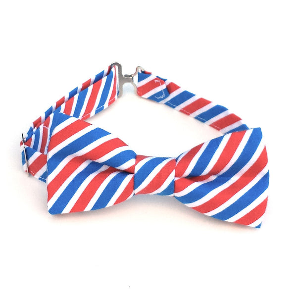 Red white and blue striped bow tie