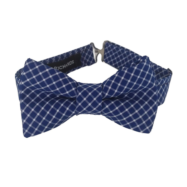 Navy Blue Check Bow Tie for Boys, Babies, Men and Women