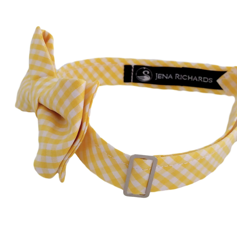 Yellow Gingham Check Bow Ties for Boys and Men