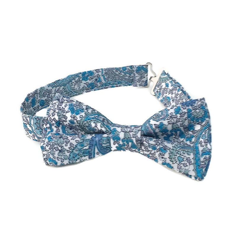 Blue paisley Liberty of London cotton bow tie