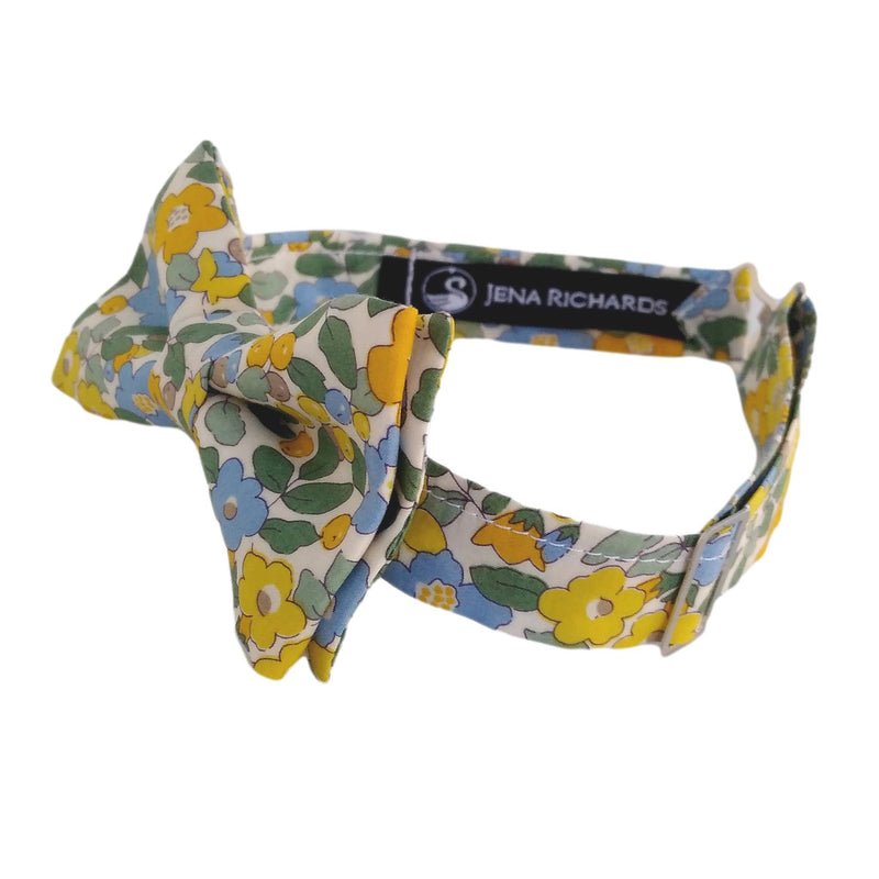 Blue and Yellow Liberty London Floral Bow Tie for Boys and Baby Boys