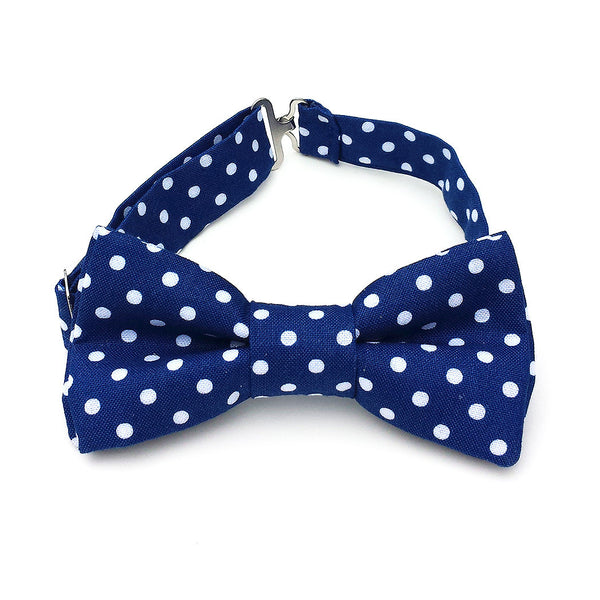 Navy blue bow tie with white dots