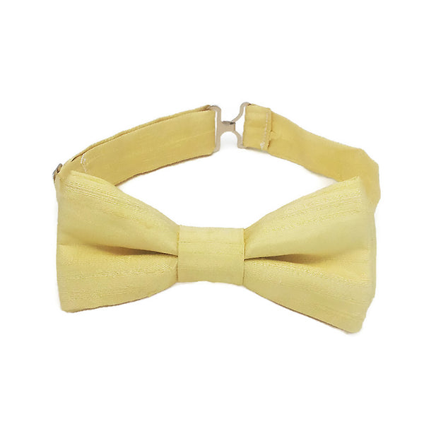 Yellow silk bow tie for men and boys