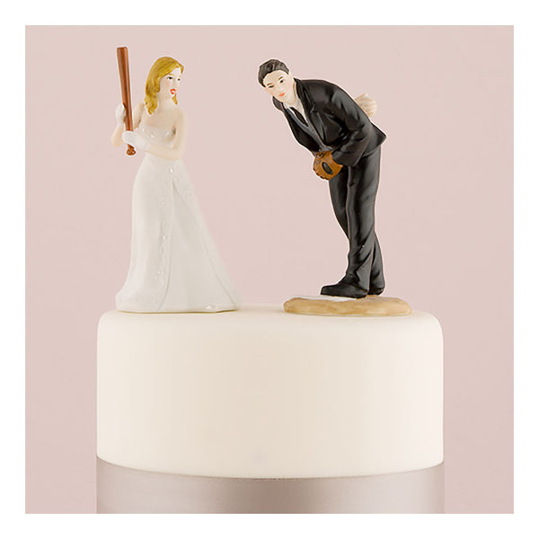 Baseball bride and groom cake topper