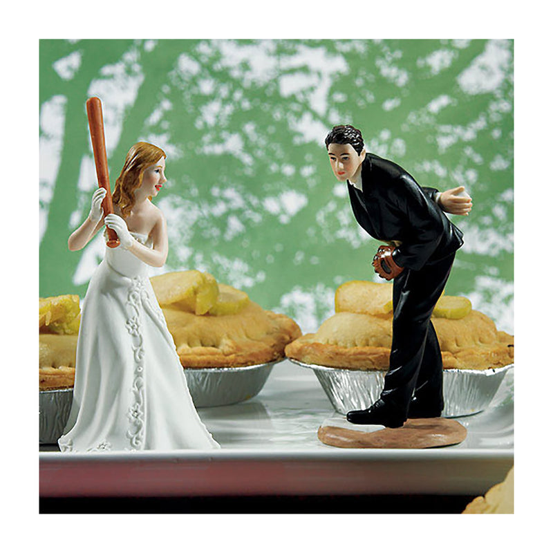 baseball themed bride and groom figurine cake topper