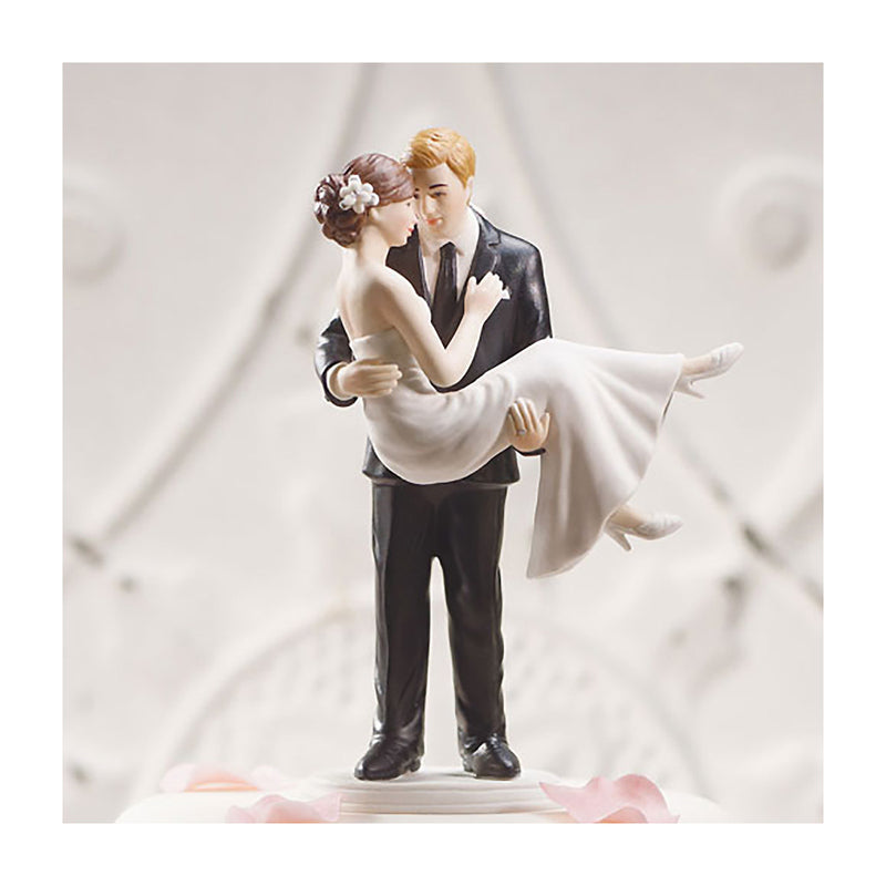 Bride swept up in his arms cake topper