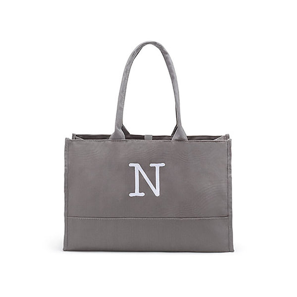 gray canvas city tote bag, may be personalized