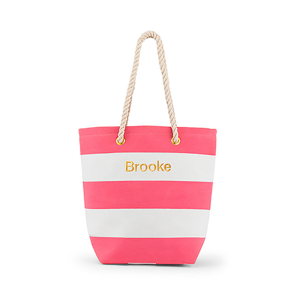 Pink and white striped tote bag, may be personalized