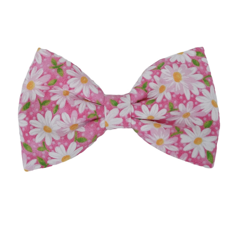 Pink Dog Bow with Daisies for the Collar