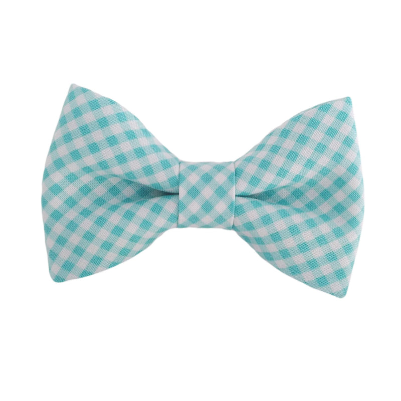 Aqua Gingham Dog Bow Ties and Dog Bows