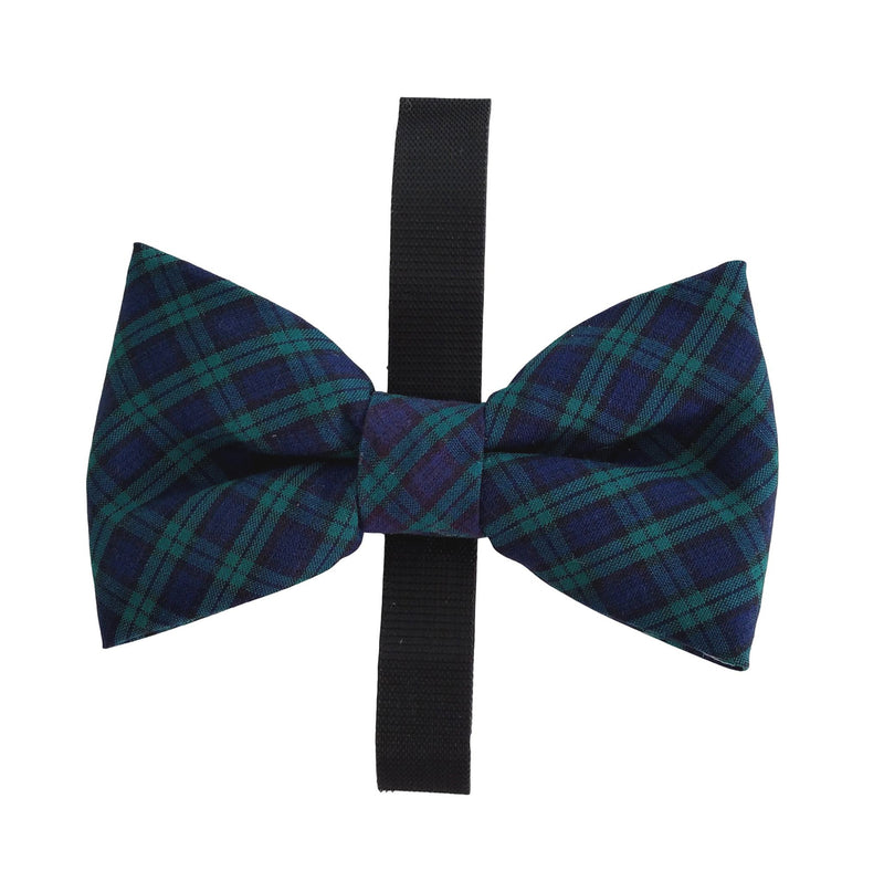 Dog Bow Tie in Green and Navy Tartan Plaid