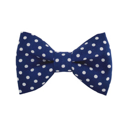 Navy Polka Dot Dog Bow Tie for the Collar