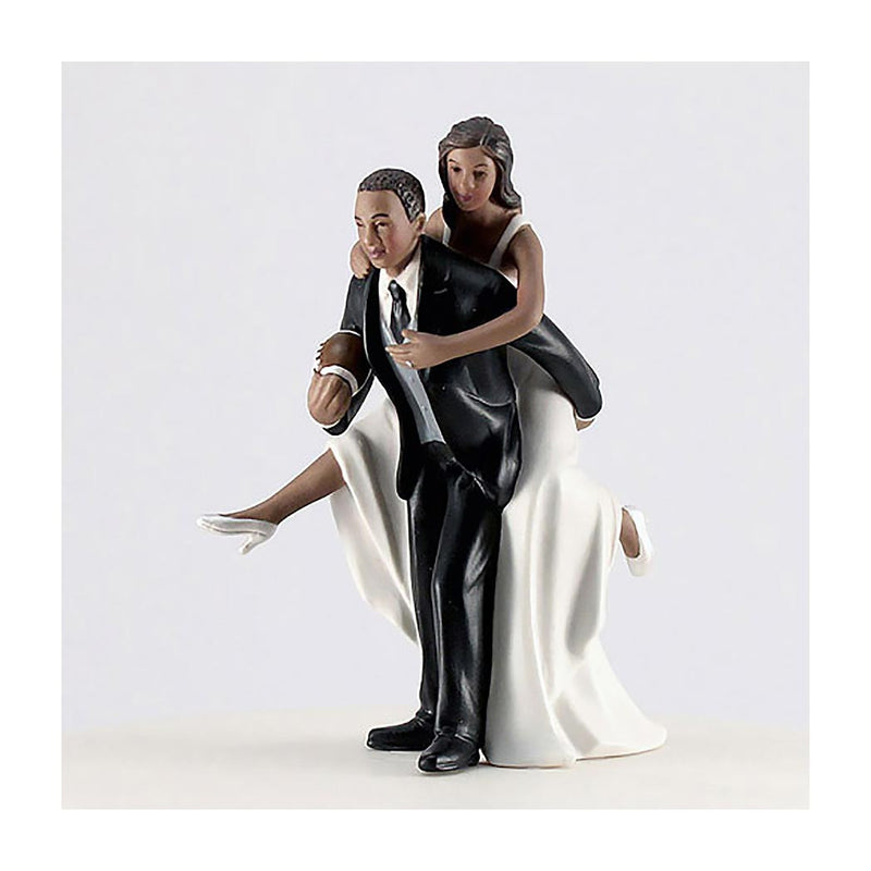 Football Couple cake topper dark skin