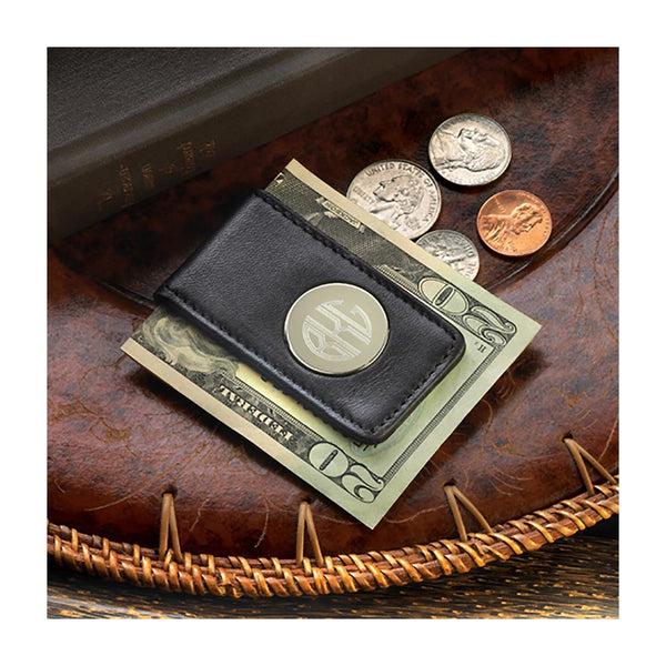 Leather magnetic money clip with circle monogram