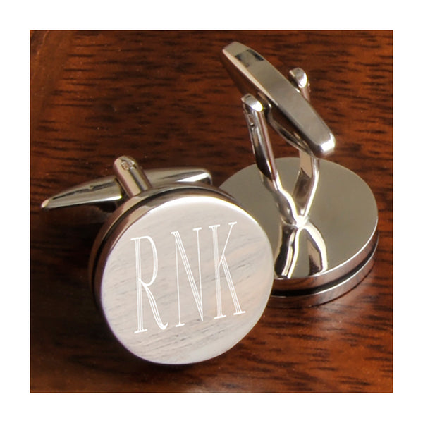 Round cufflinks engraved with 3 initials
